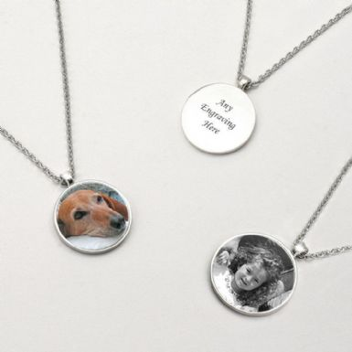 Memorial Necklace, Disc with Photo & Engraving | Someone Remembered